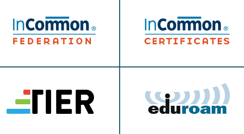 logos for InCommon Federation, InCommon Certificates, eduroam and TIER