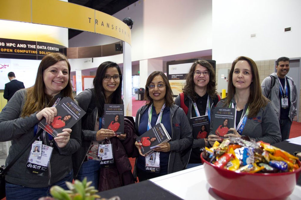 Group of WINS program winners at SC17 Internet2 booth