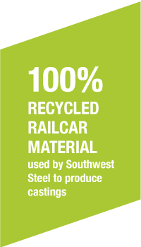 100% recycled railcar material used by Southwest Steel to produce castings