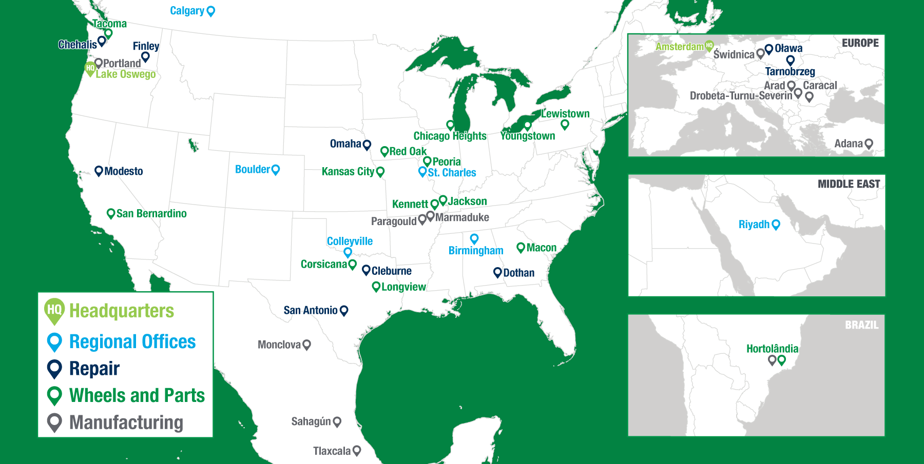 Map of Greenbrier locations worldwide