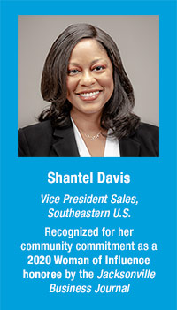 Shantel Davis, VP of Sales, SE US, recognized for her community commitment as a 2020 Woman of Influence honoree by the Jacksonville Business Journal