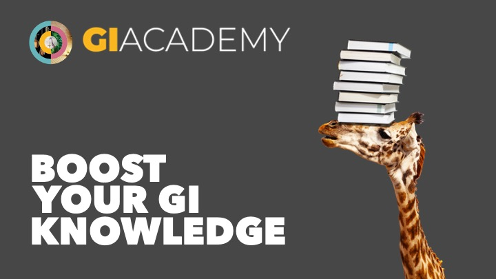 A giraffe with books on its head and the GI Academy logo
