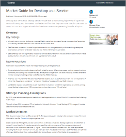 Gartner acknowledge Workspot as Representative Vendor in 2019 Market Guide for Desktop as a Service