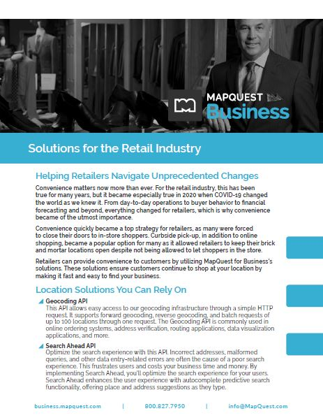 MapQuest for Business in the Retail Industry