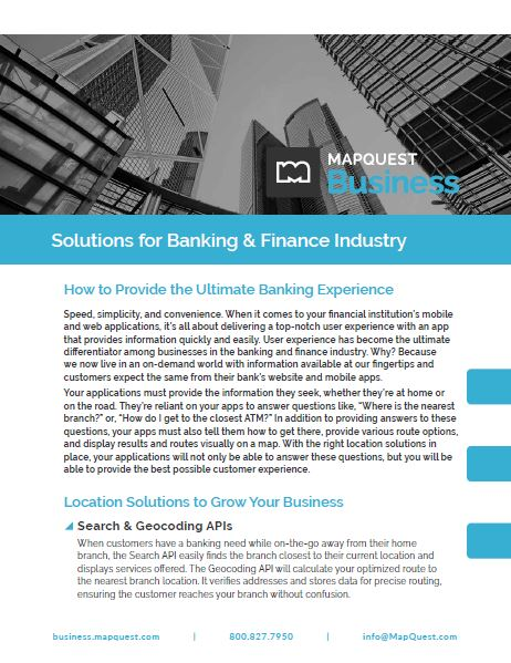 MapQuest for Business in the Banking & Finance Industry