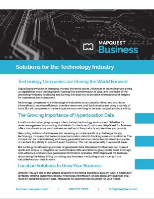 MapQuest for Business Technology Industry Brief