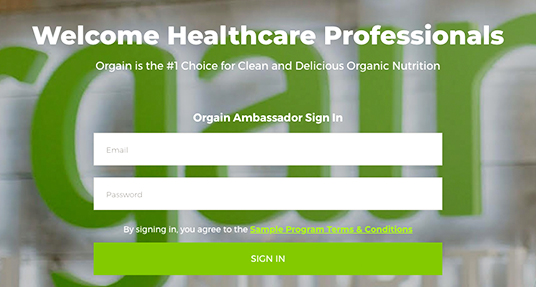 Orgain HCP Website Protal