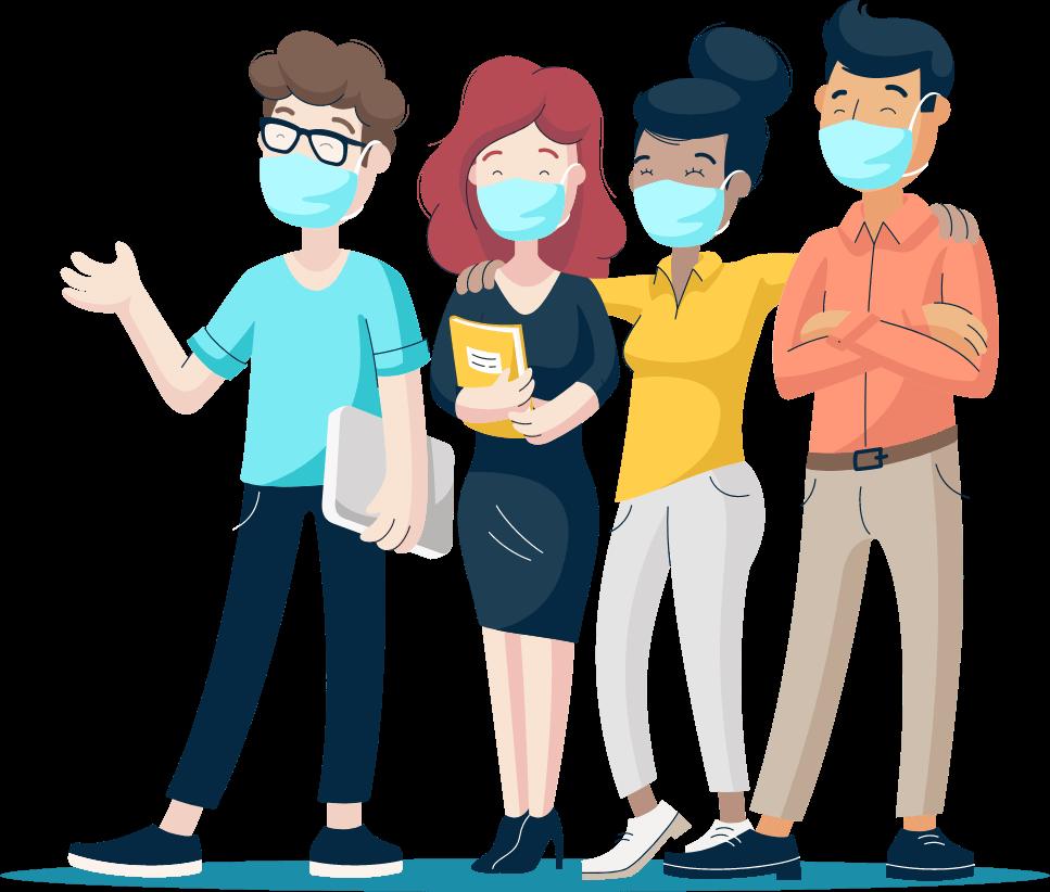 Illustration of Monsido staff wearing face masks