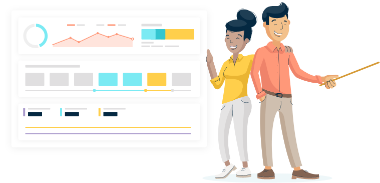 An illustration of two smiling Monsido staff members standing next to graphs displaying analytics results inside the Monsido Platform