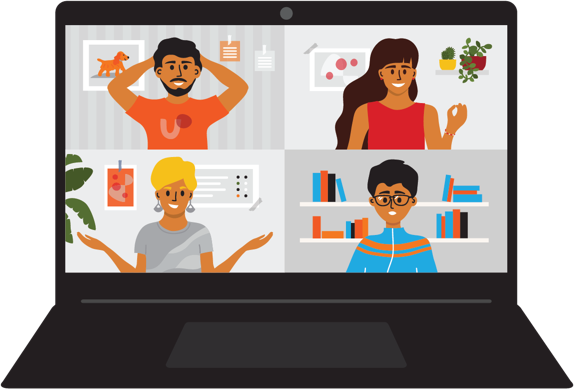 Illustration of remote workers chatting on a video call