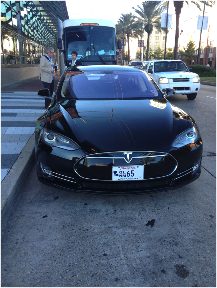 A Tesla on the streets of New Orleans.