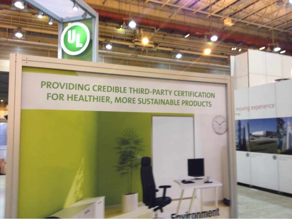 A booth with environmental claims at GreenBuild 2014.