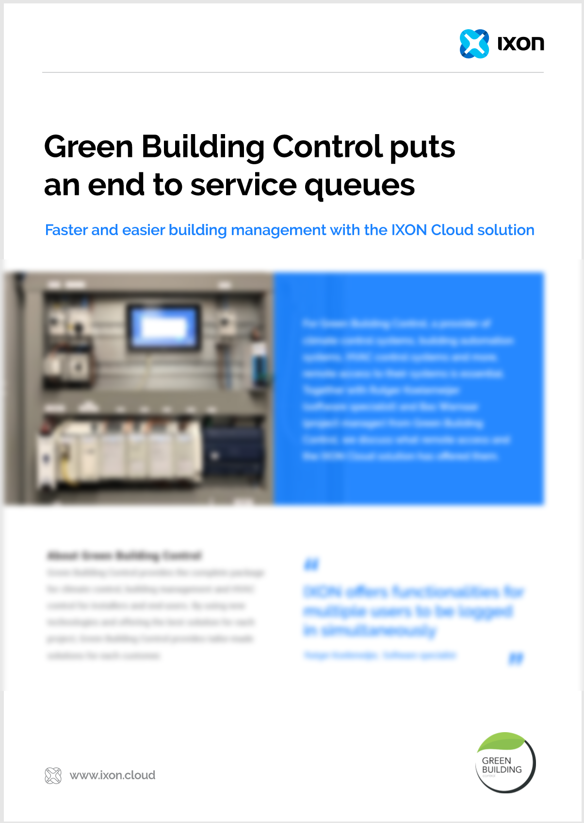 Case study Green Building Control & IXON Cloud