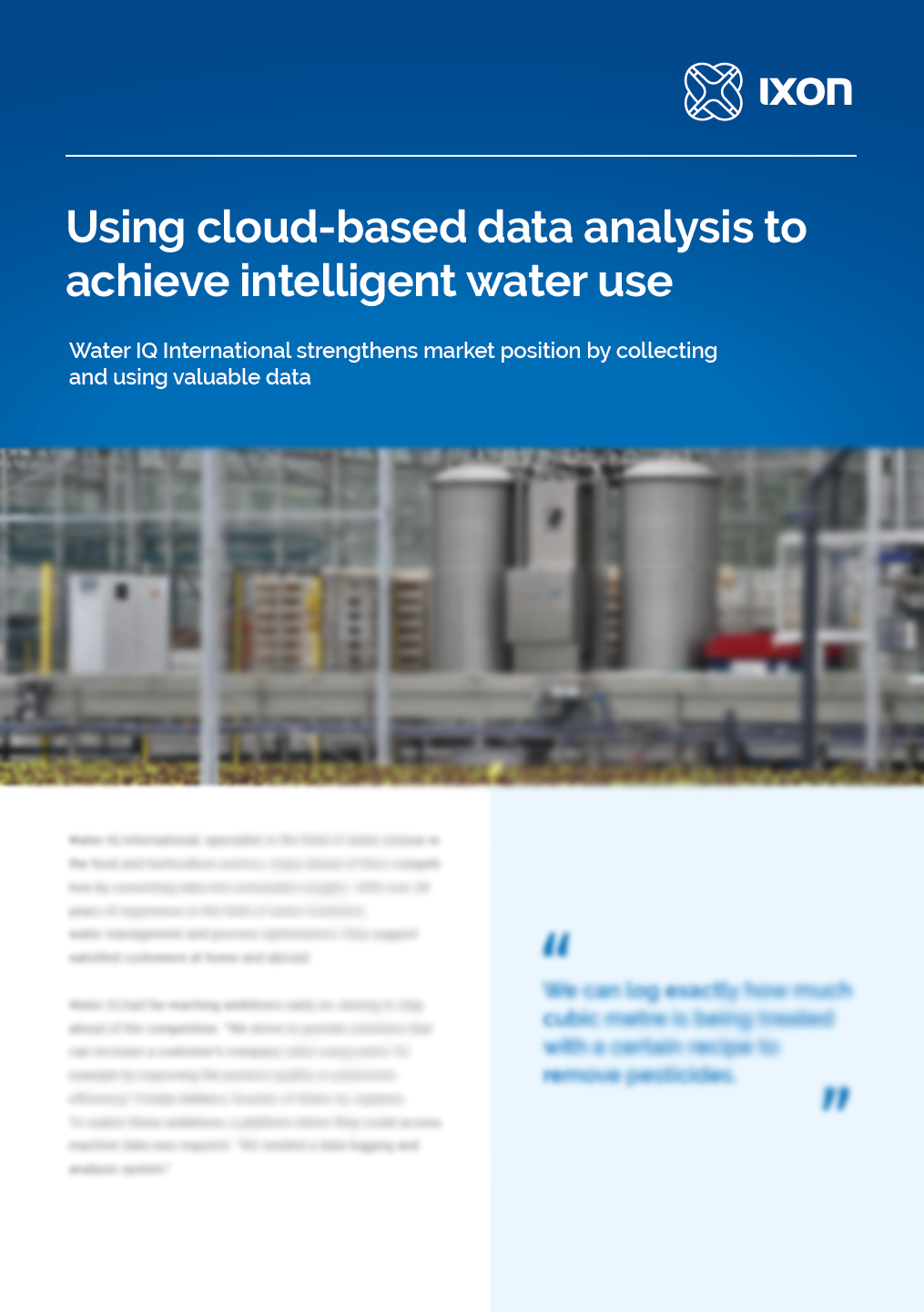 Case study Water IQ & IXON Cloud