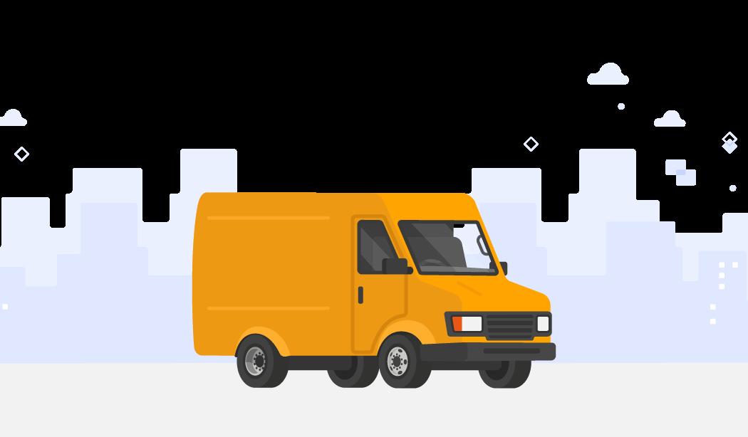 Gif of delivery van driving across city skyline