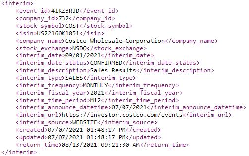 Interim Calendar html example