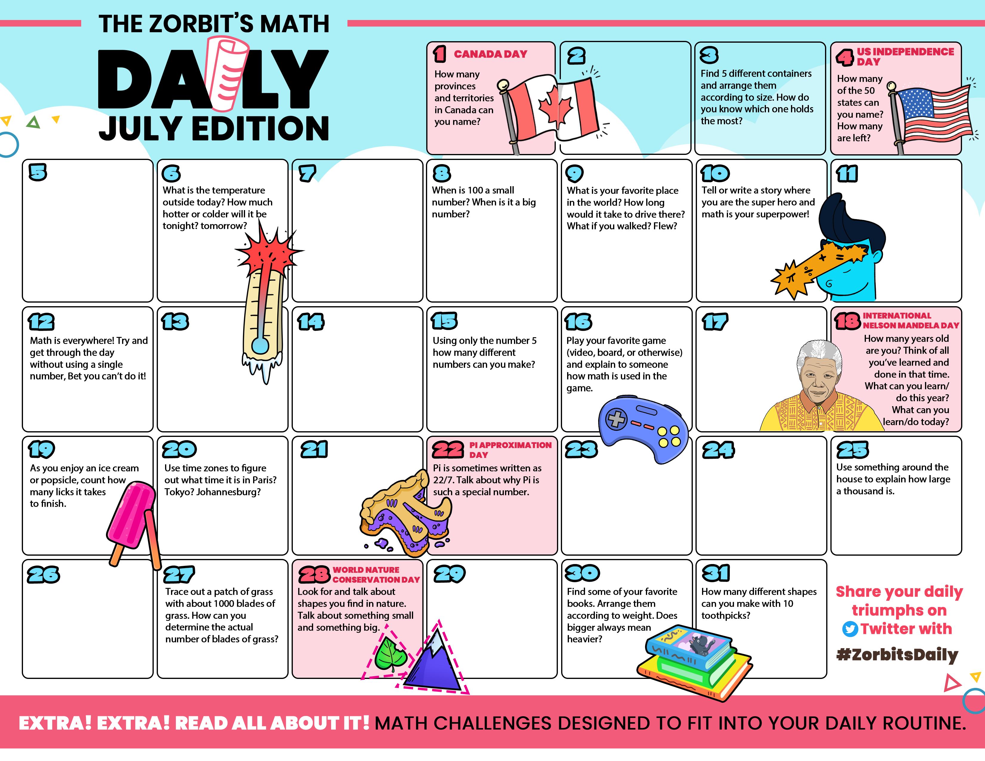 Zorbit's Math Daily July Edition - English