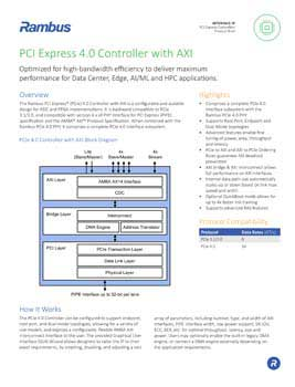 PCIe 4.0 Controller with AXI Product Brief