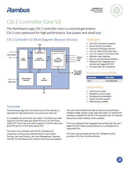 CSI-2 Controller Product Brief