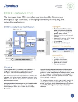 DDR3 Controller Product Brief Cover