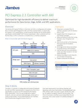 PCIe 2.1 Controller with AXI Product Brief