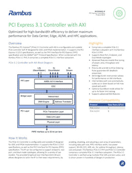 PCIe 3.1 Controller with AXI Product Brief