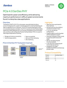 PCIe 4.0 PHY Product Brief Cover