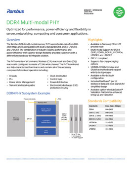 Download the Rambus DDR4 Multi-modal PHY Product Brief