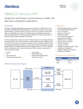 Download the Rambus HBM2 PHY Product Brief