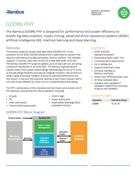 Download The Rambus GDDR6 PHY Product Brief