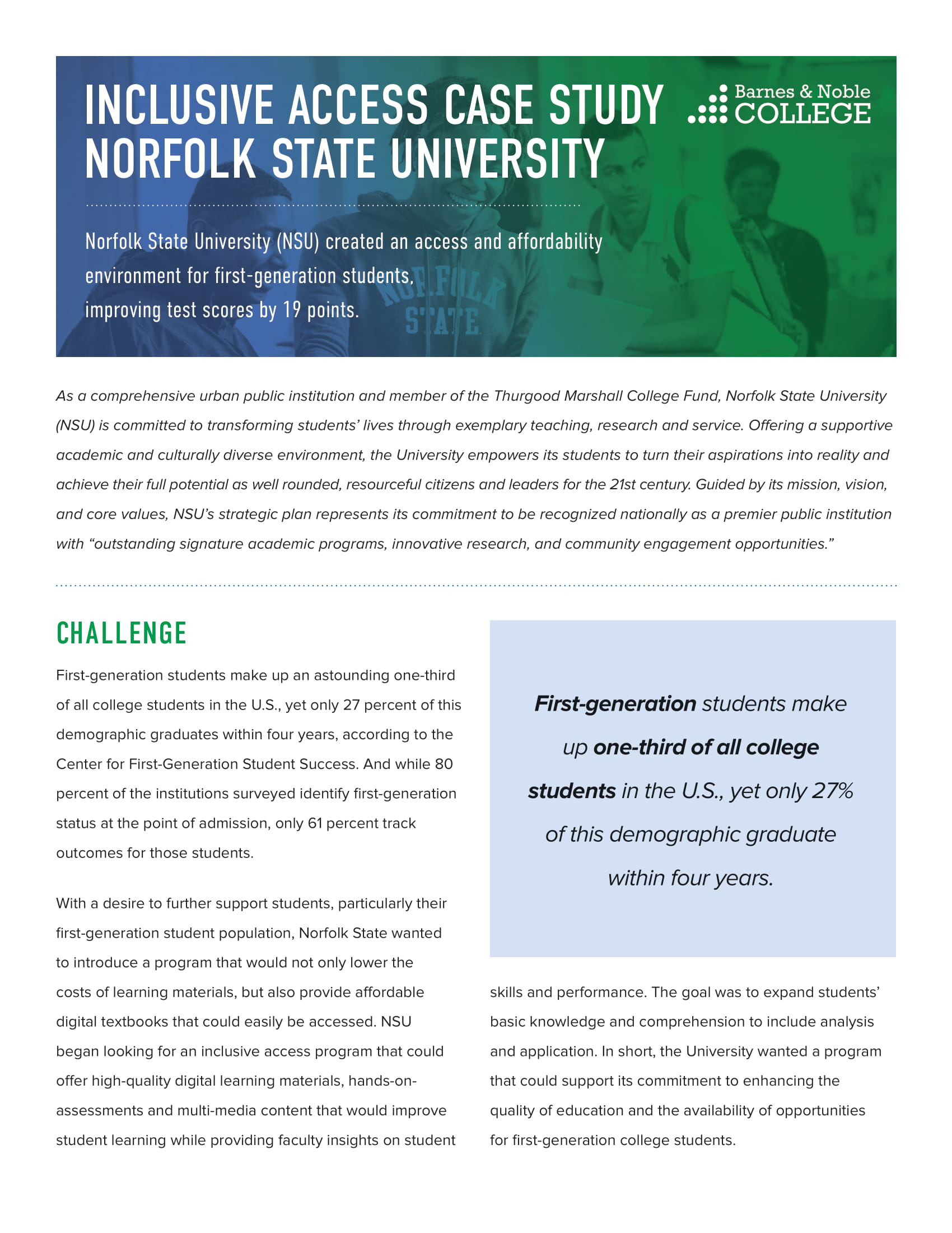 Norfolk State First Day Case Study