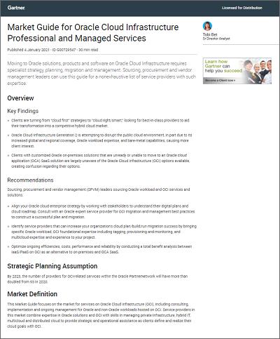 Gartner market guide for Oracle Cloud Infrastructure