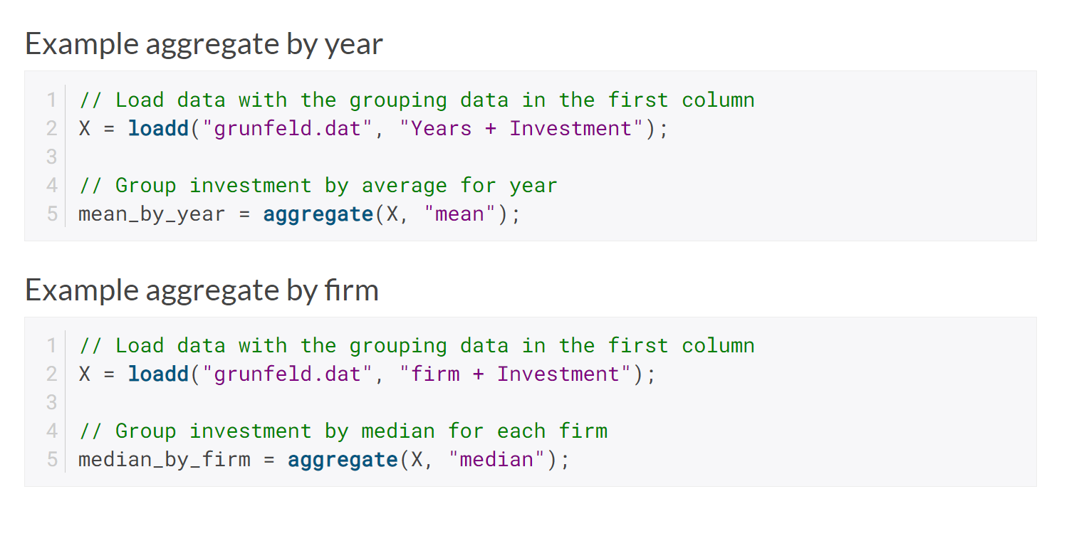 Example aggregate by year & firm