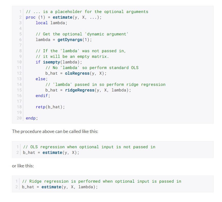 Example estimation procedure with optional lambda