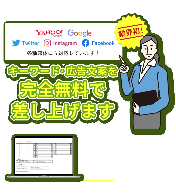 業界初!広告運用のプロが作成。キーワード・広告文案を無料で差し上げます!リスティング広告・ディスプレイ広告・SNS広告の配信準備に必要な構成案をExcel形式でご用意します。Yahoo!・Google・Twitter・Instagram・Facebookなど各媒体にも対応しております。
