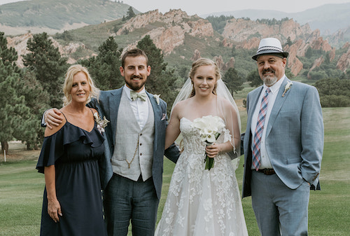 Teresa and Mike Schuster with newlywed son Parker and wife Julia