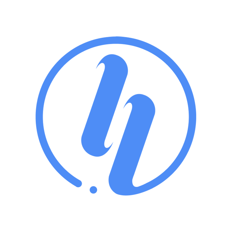 Hiretual Logo in white with light blog background