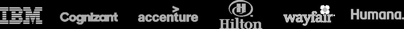 Logos of IBM, Cognizant, Accenture, Hilton, Amazon, and Humana