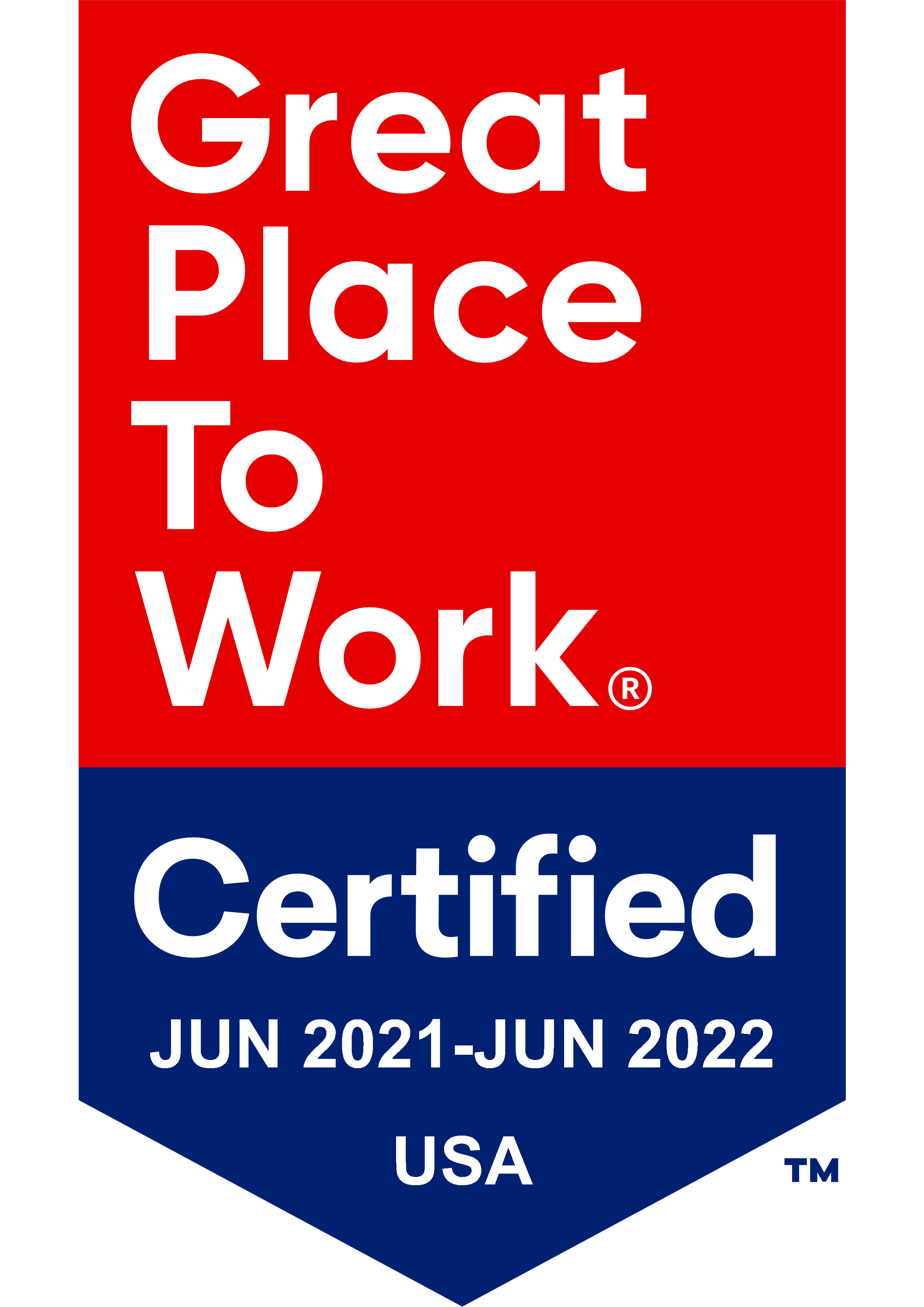 2021-2022 great place to work USA badge