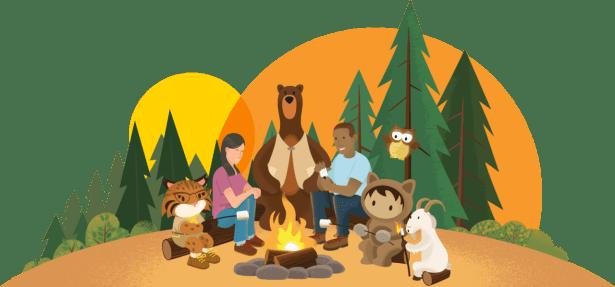 Codey and friends enjoying a campfire.