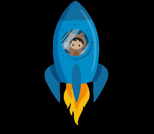 Appy in a rocketship