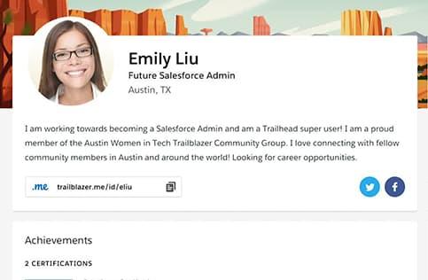 Screenshot of a Trailblazer.me profile page