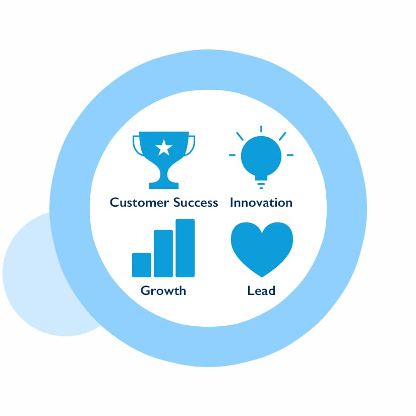 Graphic says Customer Success, Innovation, Growth, and Leadership