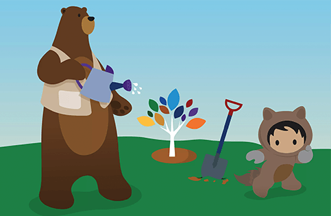 Codey and Astro planting a diversity tree