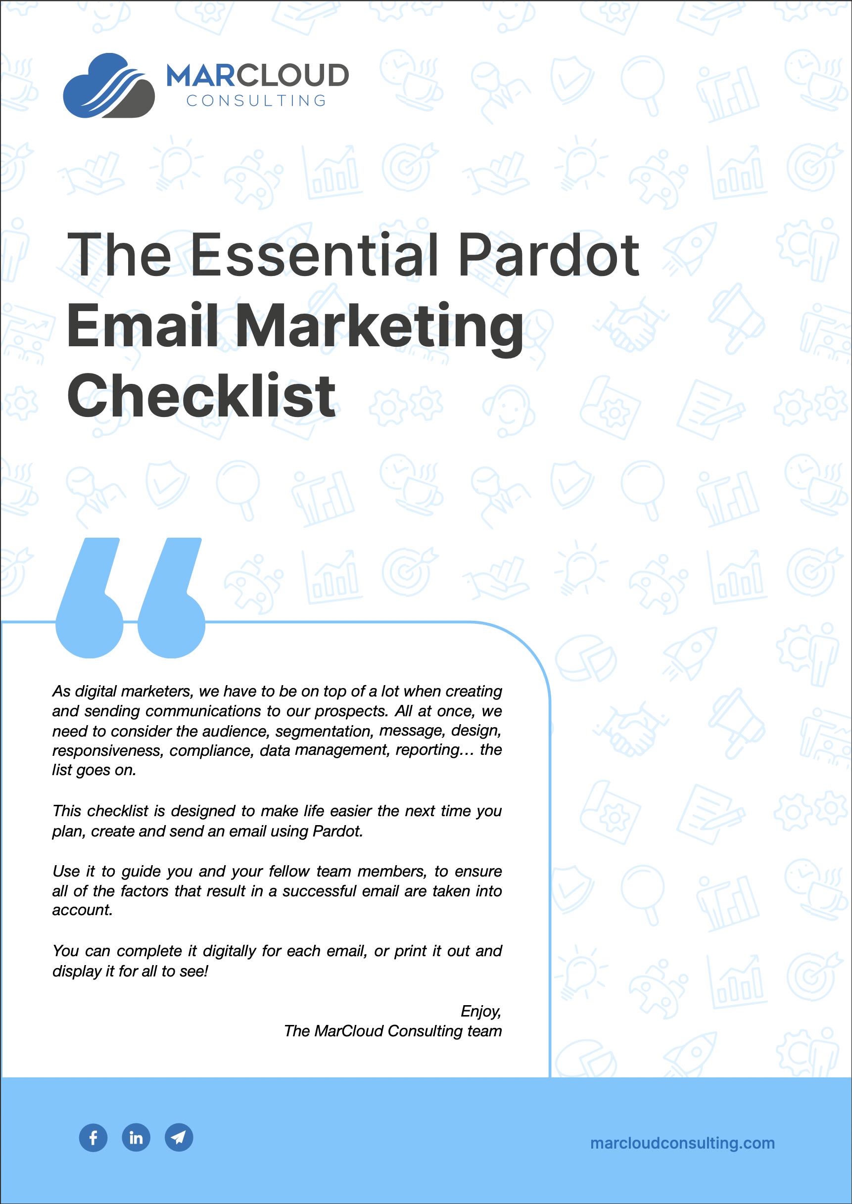 Pardot B2B email marketing checklist